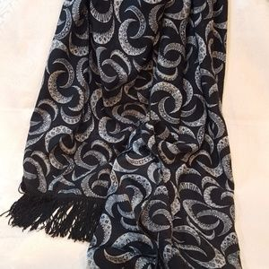 Stunning Vintage Fringed Silk Crescent Moons Scarf